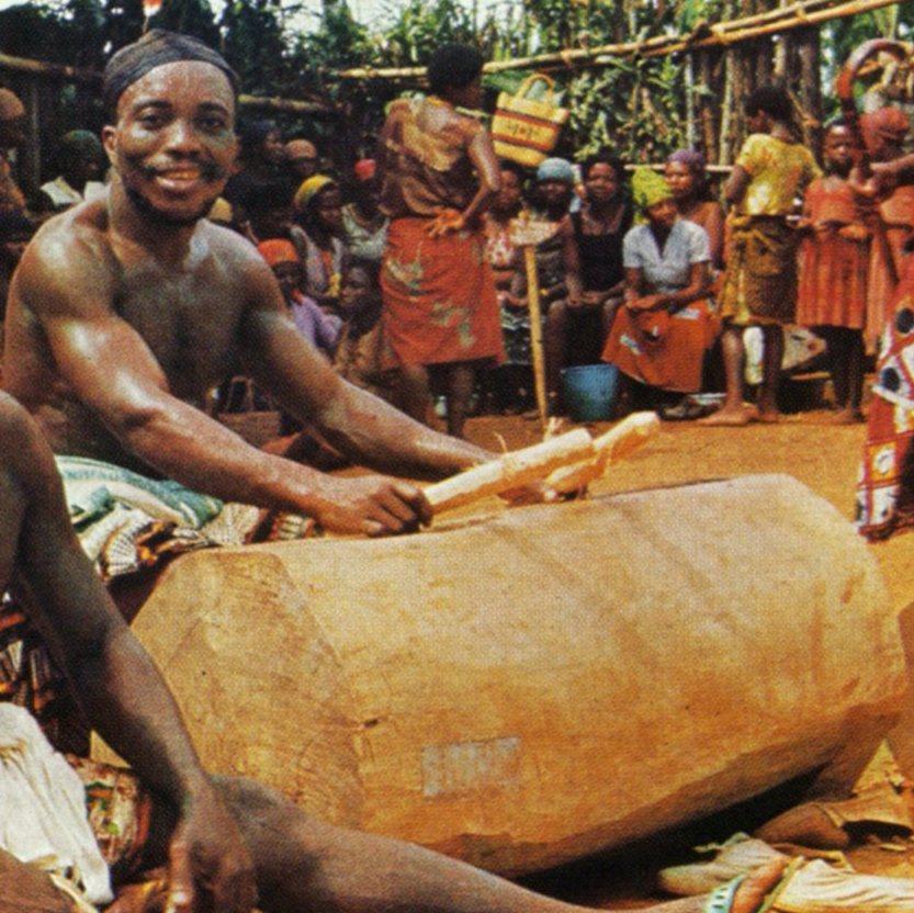 Atem Bangwa carver sculptor artist Cameroon drum