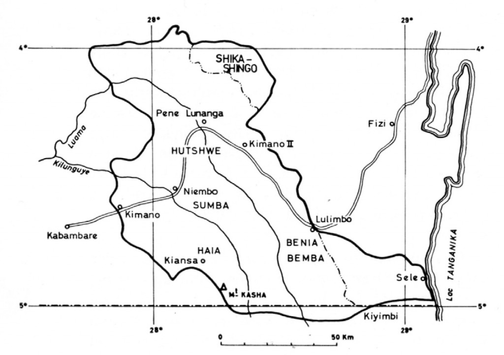 Map from de Kun (Nicolas), L'Art Boyo, 1979: p. 32, fig. 4 - showing the Northern Boyo area, with Kabambare in the lower left corner.