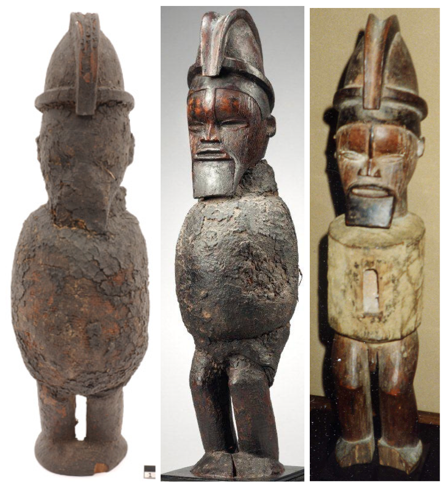Left: Musée d'Ethnographie de Genève (ETHAF 012869). Height: 36,5 cm. Middle: Private Collection. Height: 49 cm. Right: Private Collection.