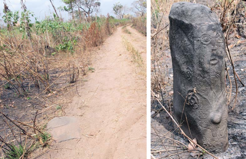 Edamkono monolith site (January 2015): left, monolith buried in the road; right, fire damaged. Image courtesy of Dr. Ivor Miller and Dr. Abu Edet.