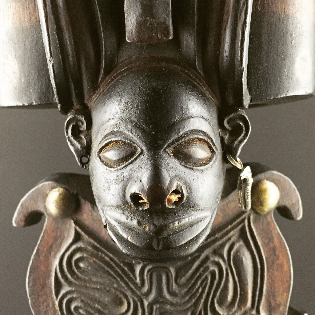 Detail head Chokwe staff Angola