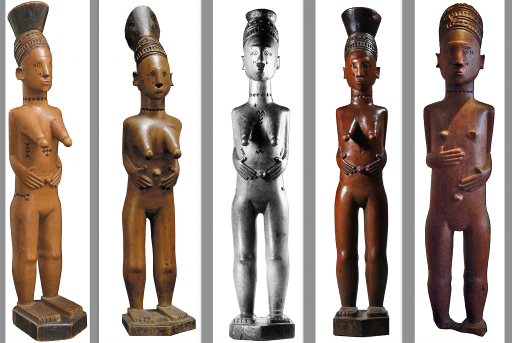From left to right: 1. Ex Alain Naoum & Ex Christie's, Paris, 16 June 2009. Lot 302; 2. Collection Tropenmuseum, Amsterdam, The Netherlands (#6356-2). Collected in 1925; 3. Published & exhibited in Mangbetu. Afrikaanse Hofkunst uit Belgische prive-verzamelingen, Brussels, KB, 1992: 87, #16; 4. Ex Sotheby's, New York, 15 May 2003. Lot 56. Collected before 1913; 5. Private Collection, collected before 1902.