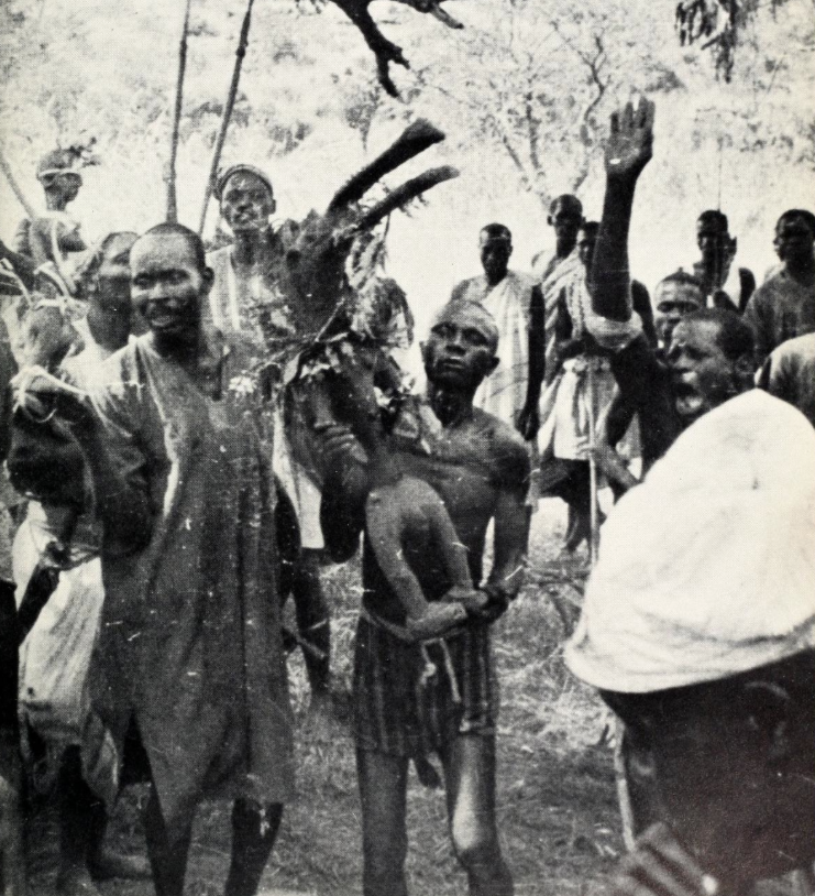 Goemai ceremony at Jelbam Hill near the graves of the former chiefs. Photographed by Robin Jagoe in 1957.