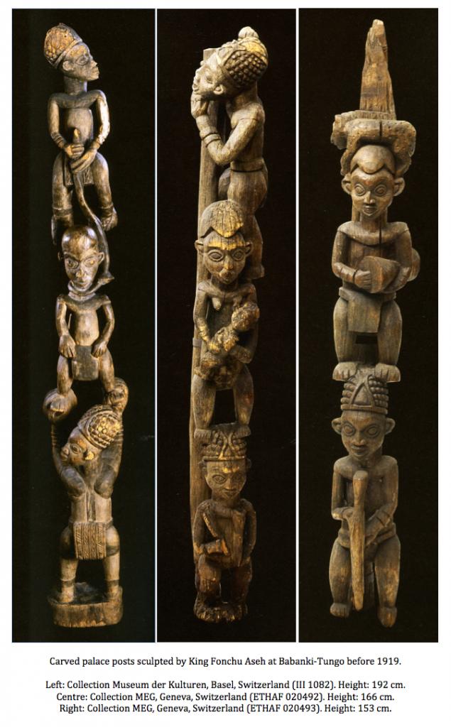 Palace posts sculpted by King Fonchu Aseh at Babanki-Tungo