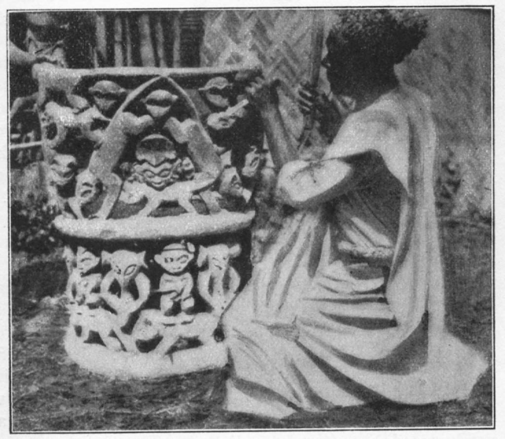 Foyn Phuonchu Aseh of Babanki-Tungo in his workshop. Published in Emonts (J.), Ins Steppen und Bergland Innerkameruns. Aus dem Leben und Wirken deutscher Afrika Missionare, Aachen, 1927: p. 221.