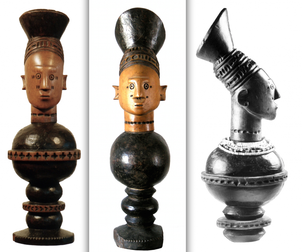 From left to right: 1. Ex Sotheby's, New York, 6 May 1998. Lot 207; 2. Private Collection; 3. Published & exhibited in Mangbetu. Afrikaanse Hofkunst uit Belgische prive-verzamelingen, Brussels, KB, 1992: p. 61, #15.