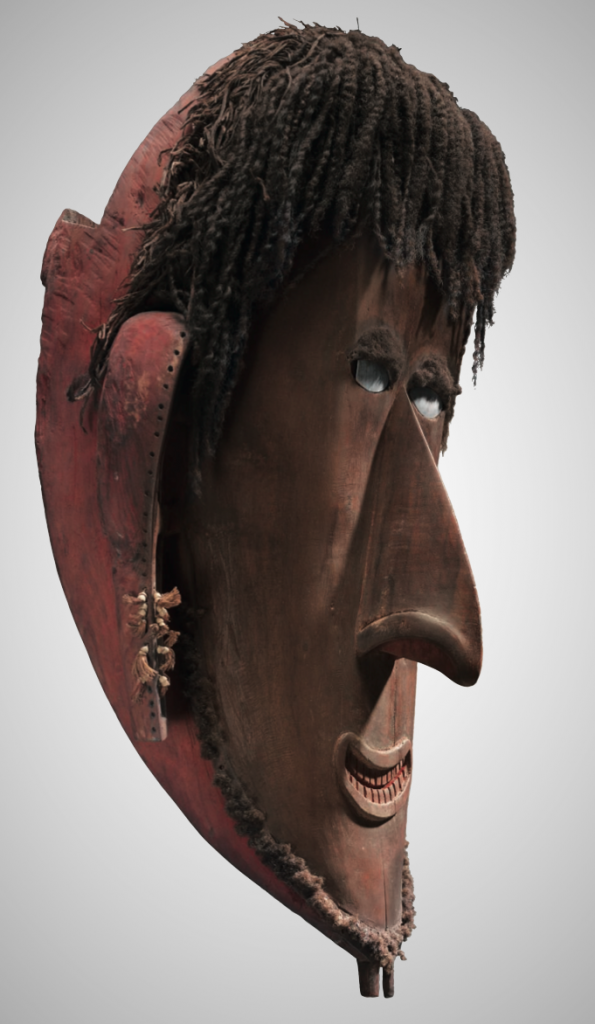 Mask. Saibai Island, Torres Strait (Northern Islands, Australia), pre 1870, wood, human hair, shell, seedpod, fiber, pigment, melo shell and coix seeds. Collection Toledo Museum of Art, Purchased with funds from the Libbey Endowment, Gift of Edward Drummond Libbey, 2015.