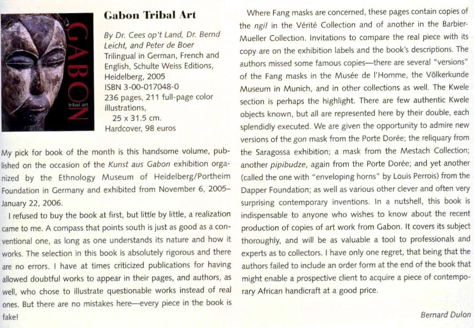 Bernard Dulon book review Gabon book fakes Tribal Art Magazine