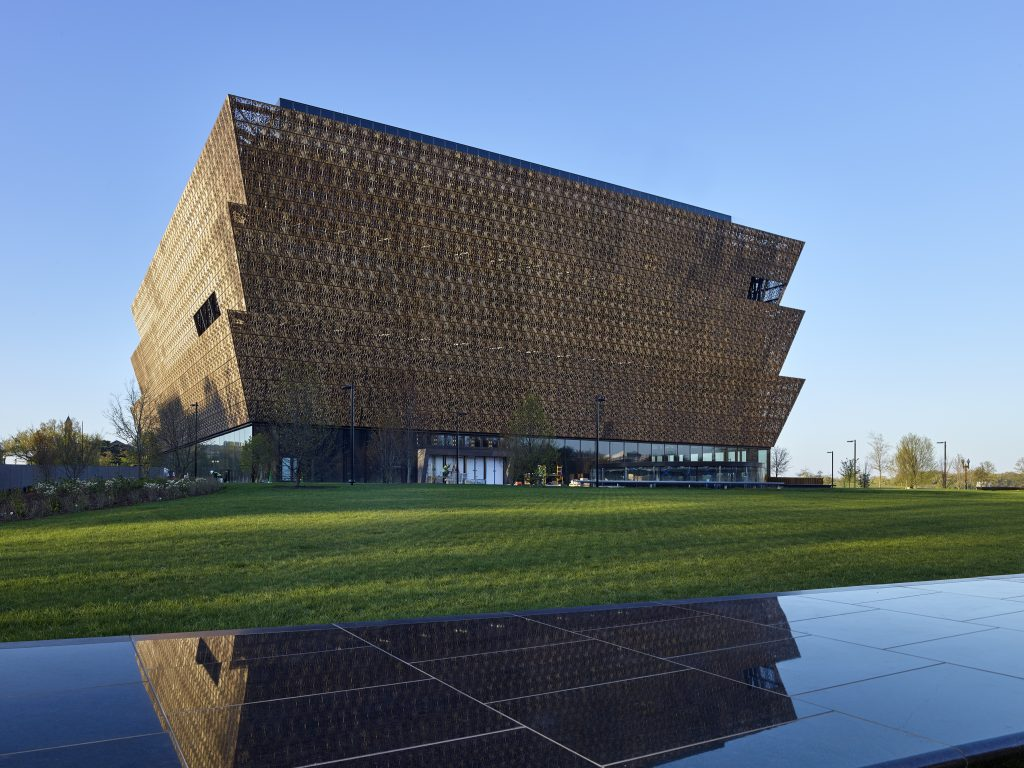 The African American History Museum cost $540 million to construct and took a little more than four years to complete. Sixty percent of the building is underground with four concourses below ground and four floors above the first level main entrance. The structure has exhibition galleries, an education center, theater, auditorium, café, store and offices. Image courtesy of Alan Karchmer.